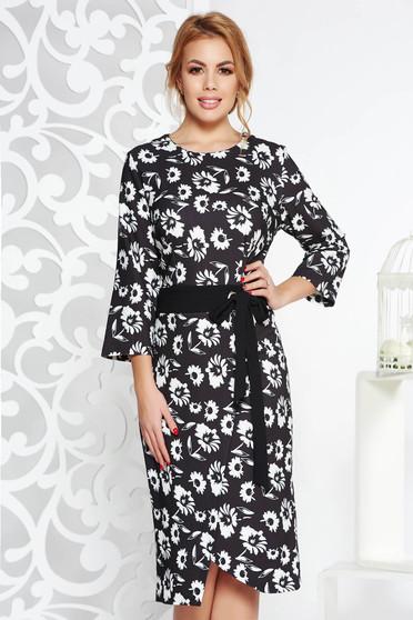 Darkgrey elegant pencil dress slightly elastic cotton accessorized with tied waistband