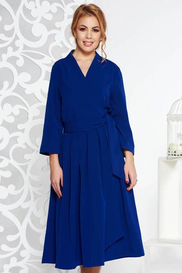 Blue elegant cloche dress nonelastic cotton with v-neckline midi