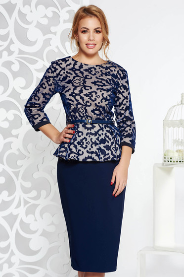 Darkblue elegant lady set slightly elastic cotton accessorized with belt with a skirt