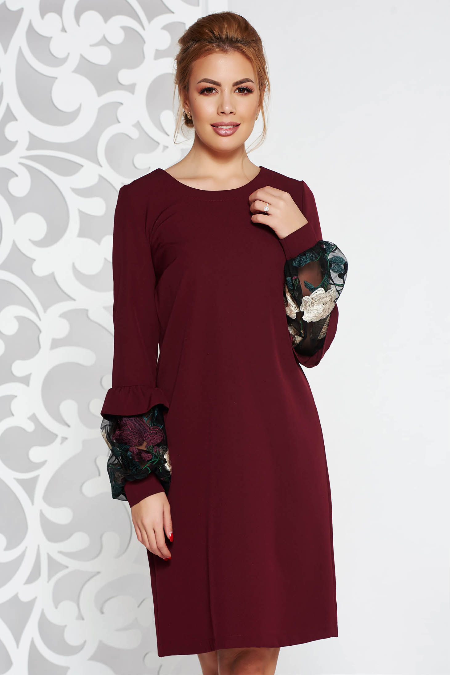 Rochie StarShinerS visinie eleganta cu croi larg din stofa usor elastica cu aplicatii de dantela