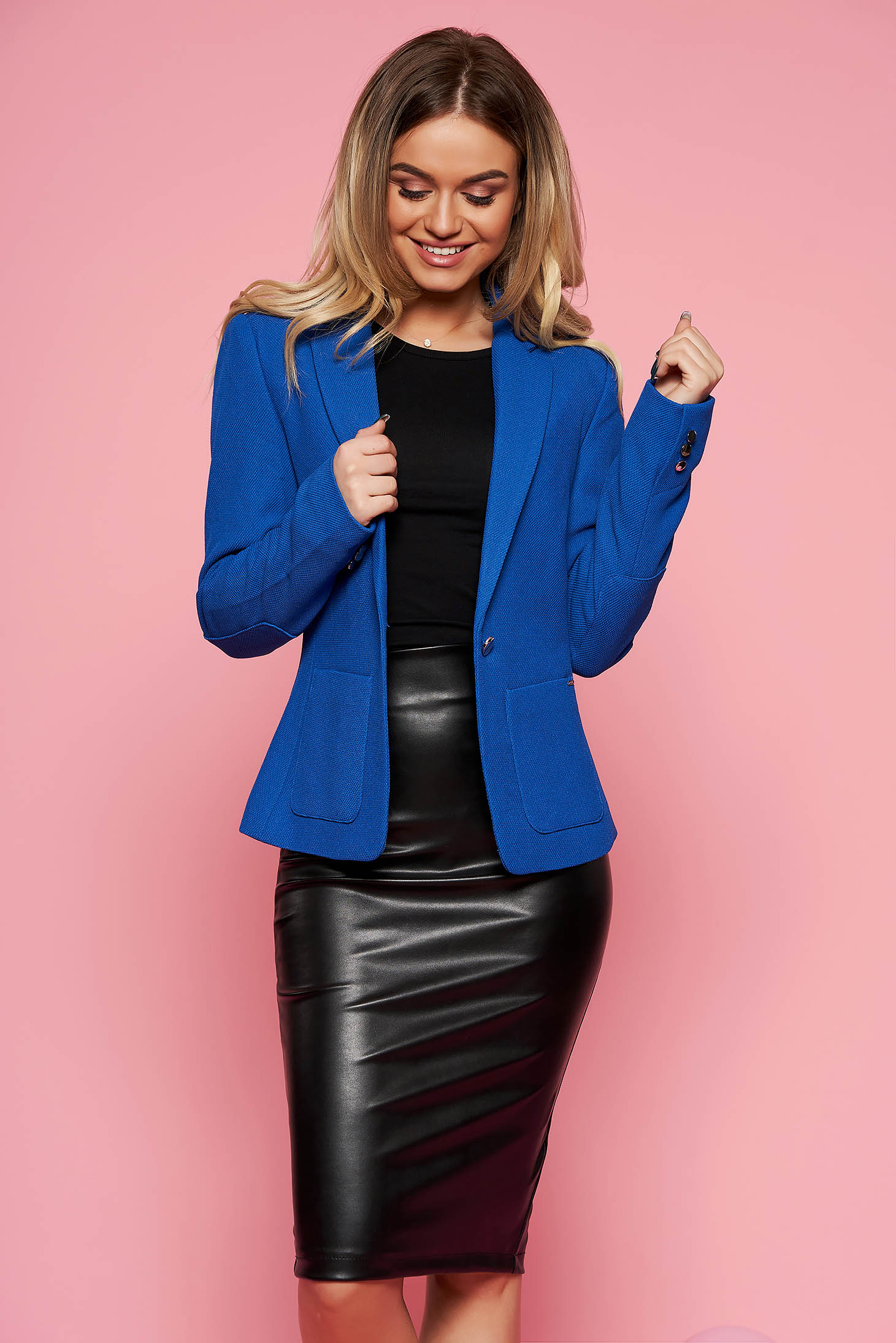 Top Secret blue office tented jacket from non elastic fabric with inside lining with pockets