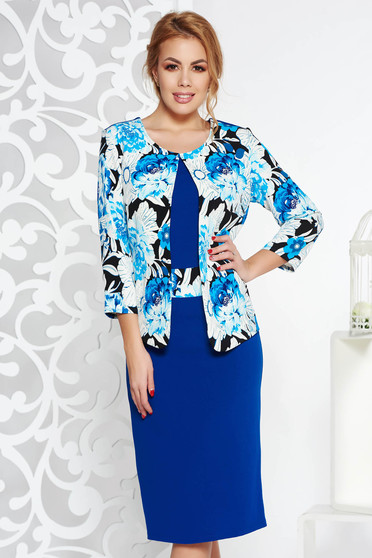 Blue elegant midi pencil dress slightly elastic fabric with floral prints
