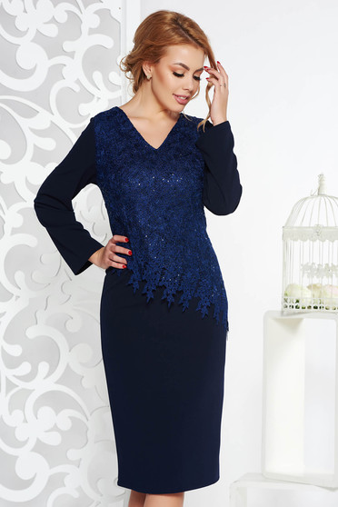 Darkblue occasional midi pencil dress from elastic fabric with sequin embellished details
