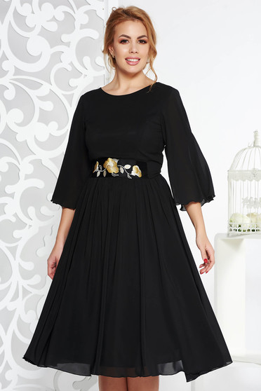 StarShinerS black occasional cloche dress from veil fabric with inside lining accessorized with tied waistband with embroidery details