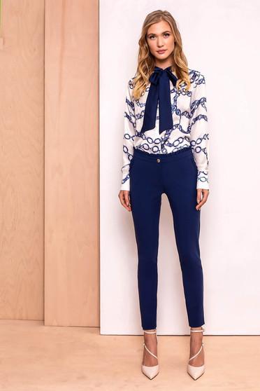 PrettyGirl darkblue elegant high waisted trousers slightly elastic fabric with ruffle details