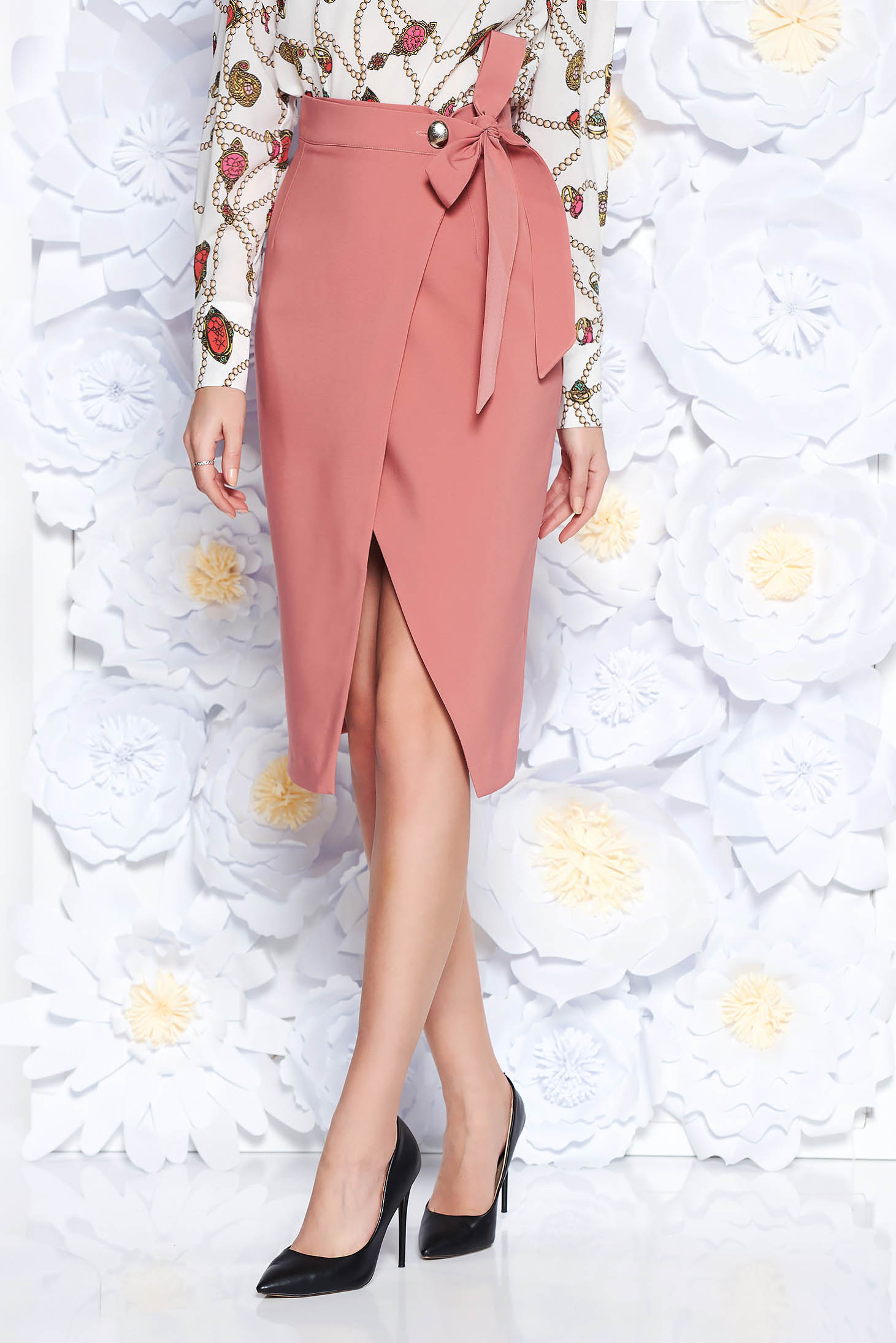 PrettyGirl rosa office high waisted pencil skirt slightly elastic fabric wrap around accessorized with tied waistband