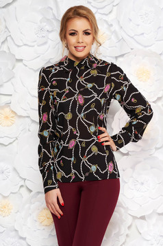 PrettyGirl black elegant flared women`s blouse airy fabric