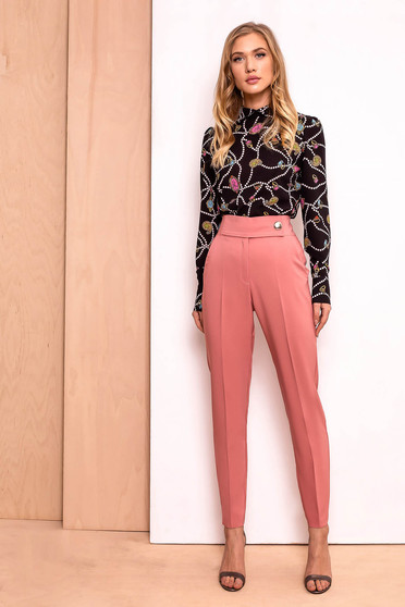 PrettyGirl coral trousers office conical high waisted slightly elastic fabric with pockets