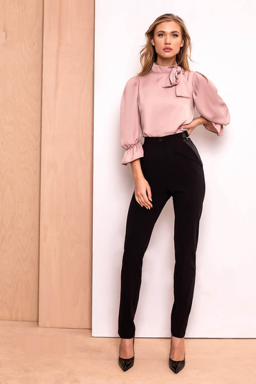 PrettyGirl black trousers office conical high waisted slightly elastic fabric with pockets