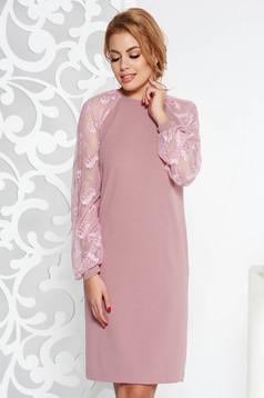 StarShinerS rosa elegant flared midi dress slightly elastic fabric with laced sleeves