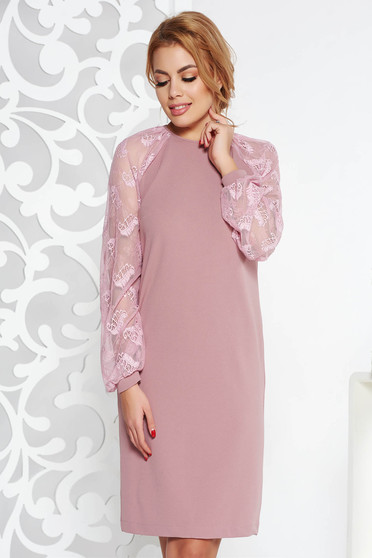 StarShinerS rosa elegant flared midi dress slightly elastic fabric with laced sleeves