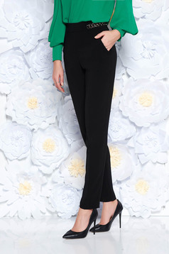 PrettyGirl black elegant conical trousers high waisted slightly elastic fabric metallic chain accessory