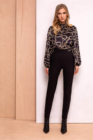 PrettyGirl black trousers elegant conical high waisted slightly elastic fabric metallic chain accessory
