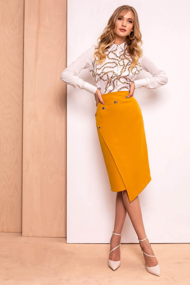 PrettyGirl mustard skirt office midi pencil high waisted slightly elastic fabric with inside lining