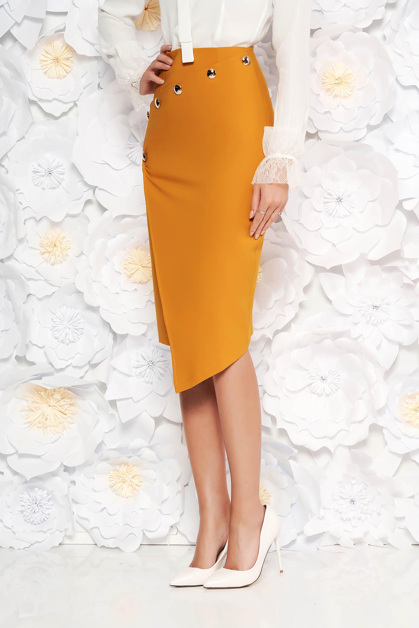 PrettyGirl mustard skirt office midi pencil high waisted slightly elastic fabric with inside lining
