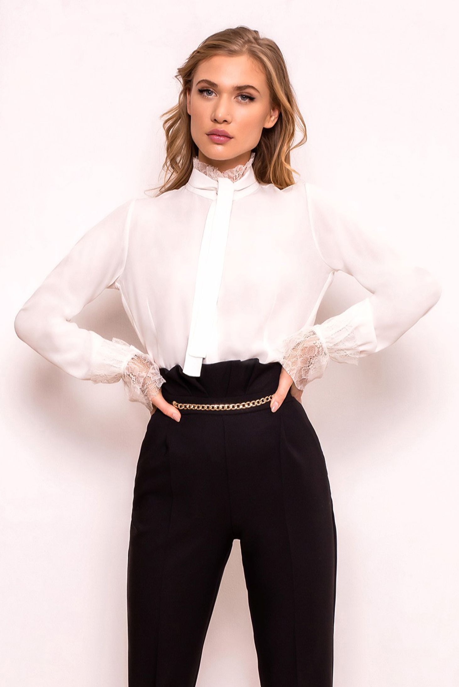 PrettyGirl white women`s shirt elegant flared airy fabric with lace details