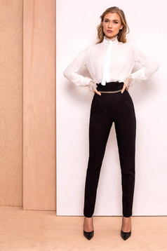 PrettyGirl black elegant high waisted trousers slightly elastic fabric golden metallic details