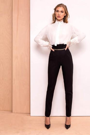 PrettyGirl black elegant high waisted trousers slightly elastic fabric golden metallic details