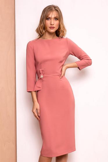 PrettyGirl coral elegant pencil dress slightly elastic fabric bow accessory with an accessory