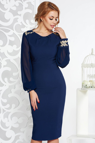 LaDonna darkblue elegant midi pencil dress slightly elastic fabric with inside lining with embroidery details
