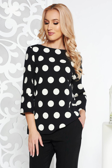 StarShinerS black women`s blouse elegant with easy cut from non elastic fabric with 3/4 sleeves