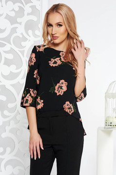 StarShinerS black elegant flared women`s blouse from non elastic fabric with 3/4 sleeves