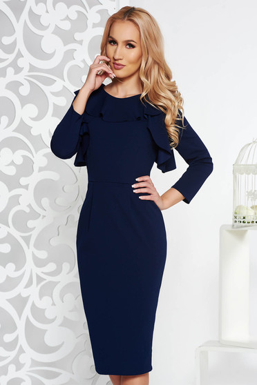 StarShinerS darkblue office midi pencil dress with inside lining slightly elastic fabric with ruffle details