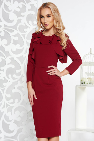 StarShinerS burgundy office midi pencil dress with inside lining slightly elastic fabric with ruffle details