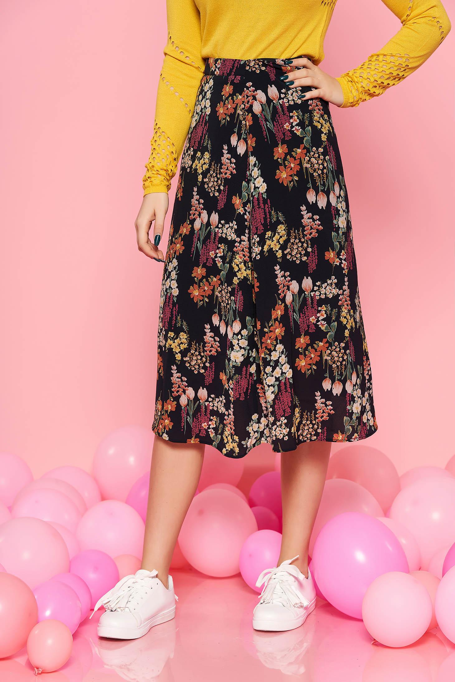 019e050a00 Fekete Top Secret szoknya casual magas derekú harang vékony anyag belső  béléssel virágmintás