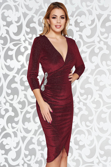 StarShinerS burgundy occasional midi dress with tented cut from velvet embroidered with lame thread