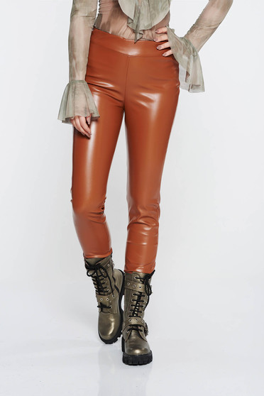 SunShine brown casual tights with medium waist with tented cut from ecological leather with elastic waist