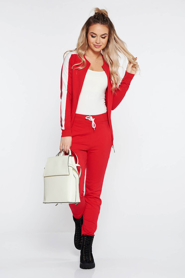 SunShine red sporty set from 2 pieces slightly elastic cotton with tented cut