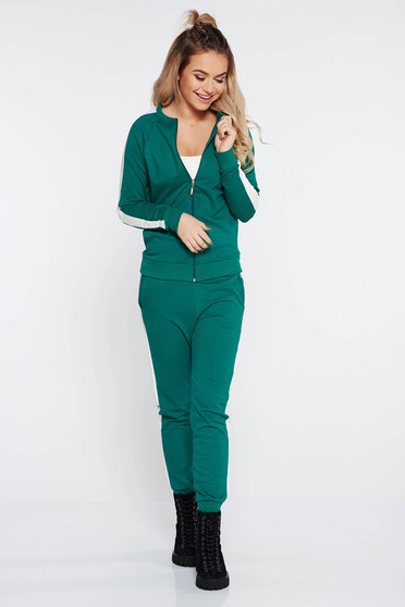 SunShine green sporty set from 2 pieces slightly elastic cotton with tented cut
