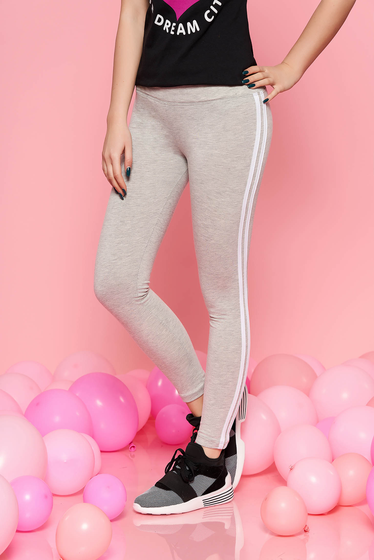 SunShine grey sporty tights with medium waist slightly elastic cotton with elastic waist