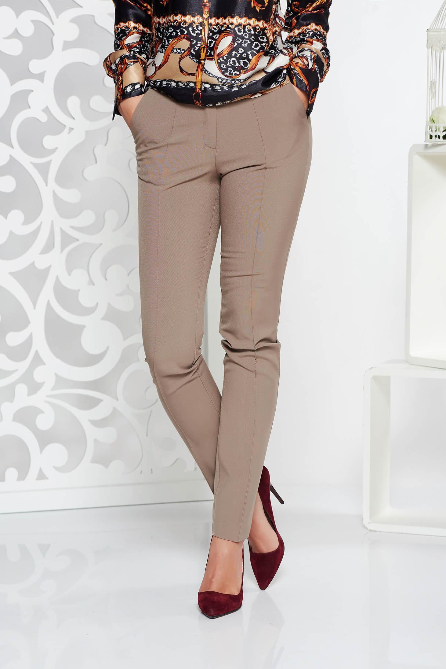 StarShinerS cream conical office trousers slightly elastic fabric with medium waist with pockets