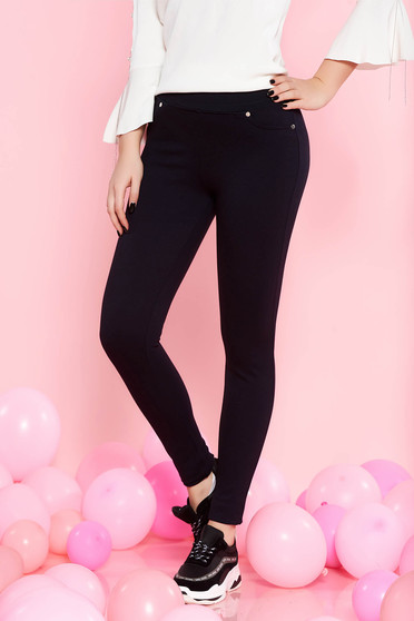 SunShine darkblue casual tights with tented cut slightly elastic cotton with medium waist