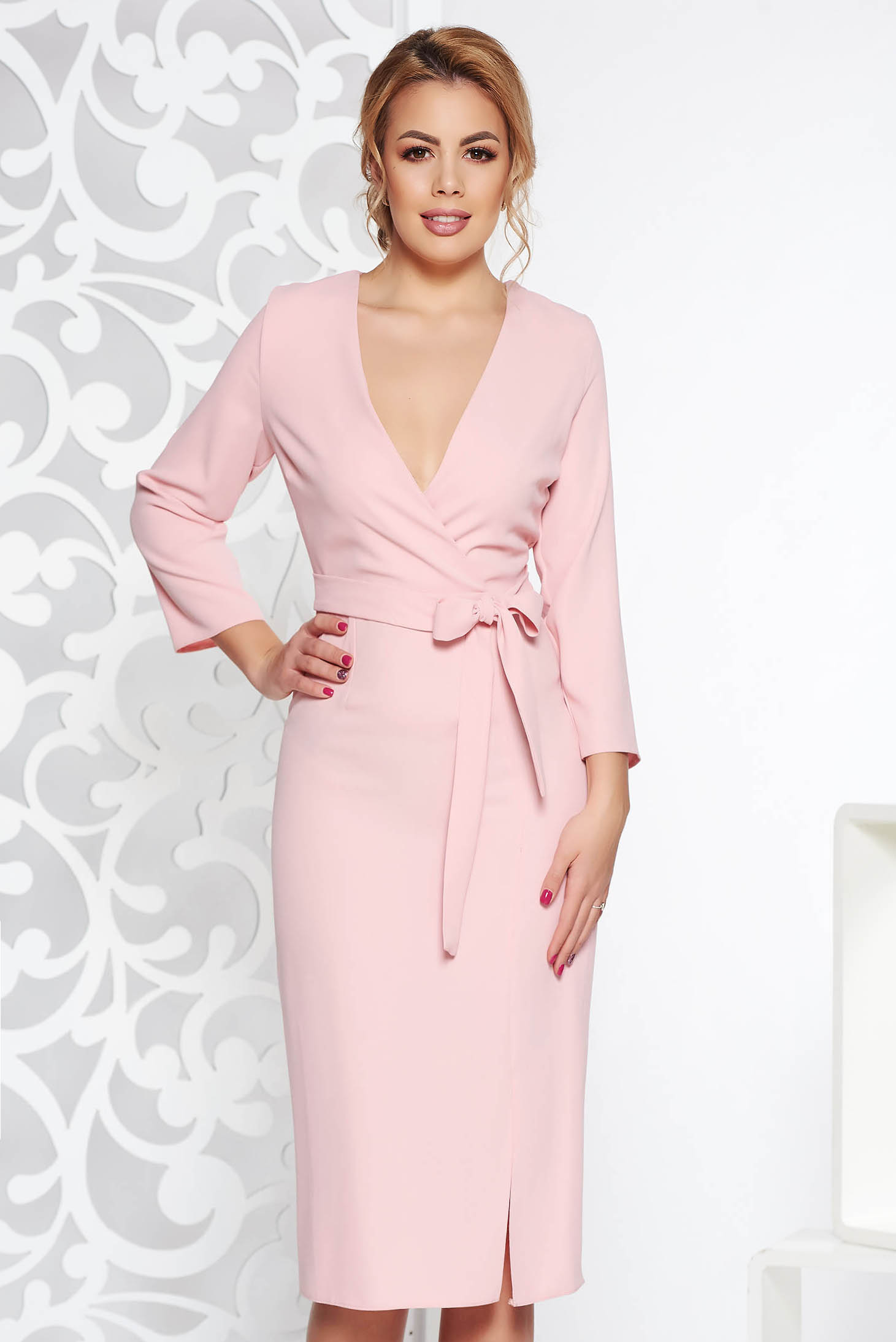 StarShinerS rosa elegant dress with v-neckline nonelastic fabric accessorized with tied waistband
