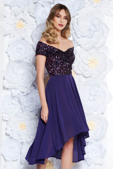 StarShinerS purple occasional asymmetrical cloche dress off shoulder