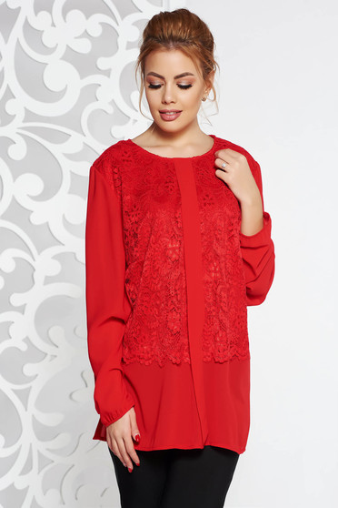 Red elegant from veil fabric flared women`s blouse lace overlay