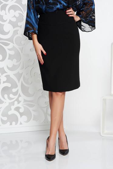 Black office high waisted pencil skirt slightly elastic fabric