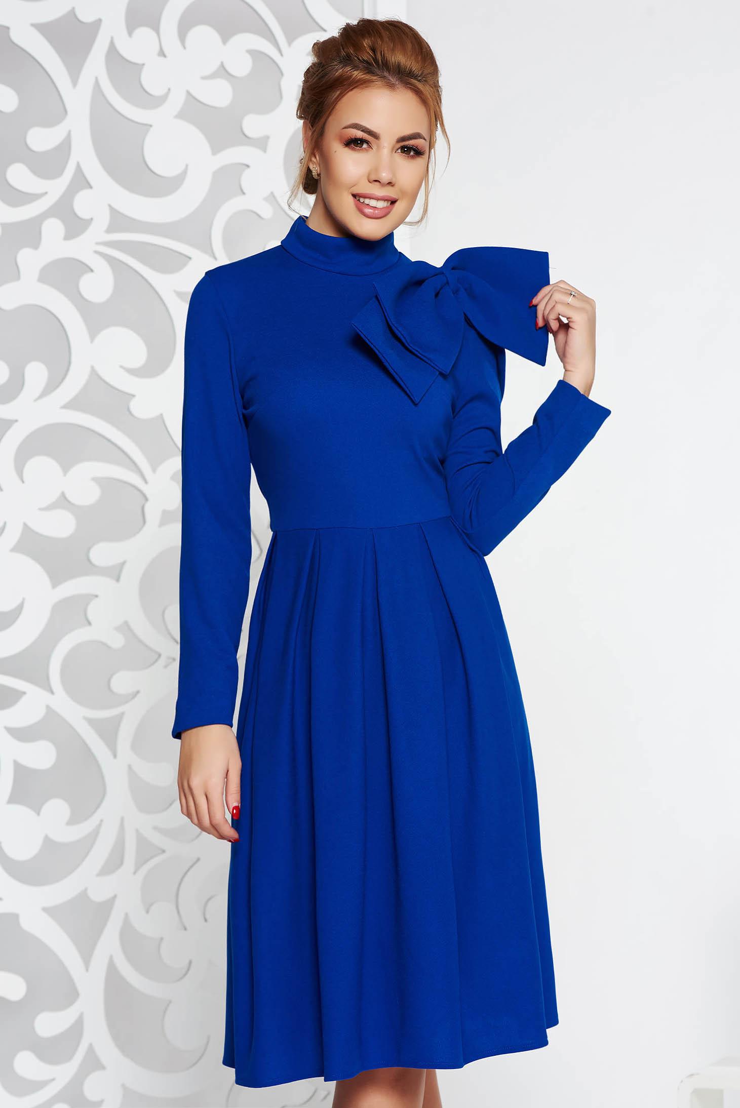 Blue elegant cloche dress slightly elastic fabric bow accessory