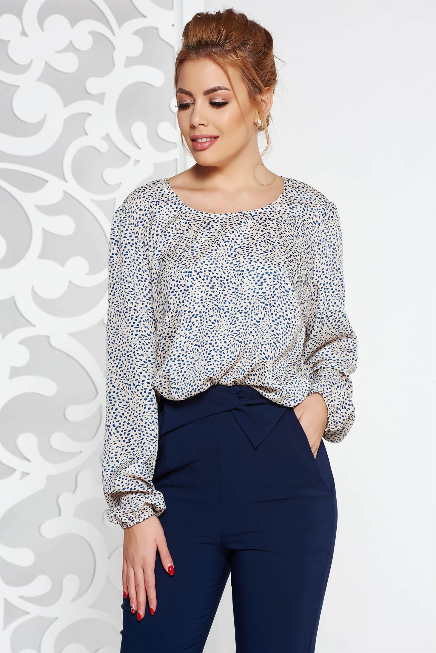 Bluza dama crem eleganta cu croi larg din material vaporos cu buline