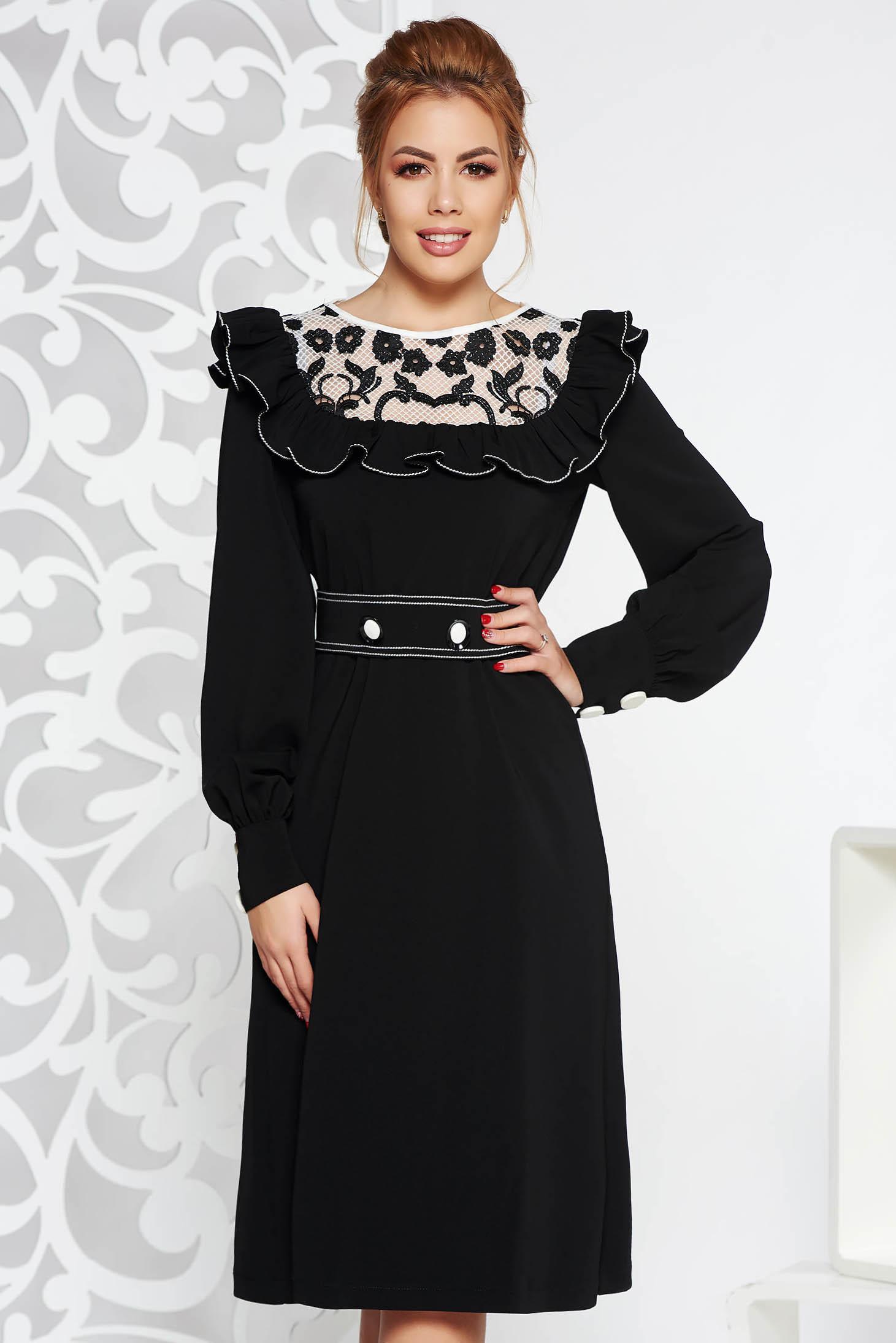 Rochie LaDonna neagra eleganta din stofa neelastica cu volanase cu aplicatii de dantela accesorizata cu cordon