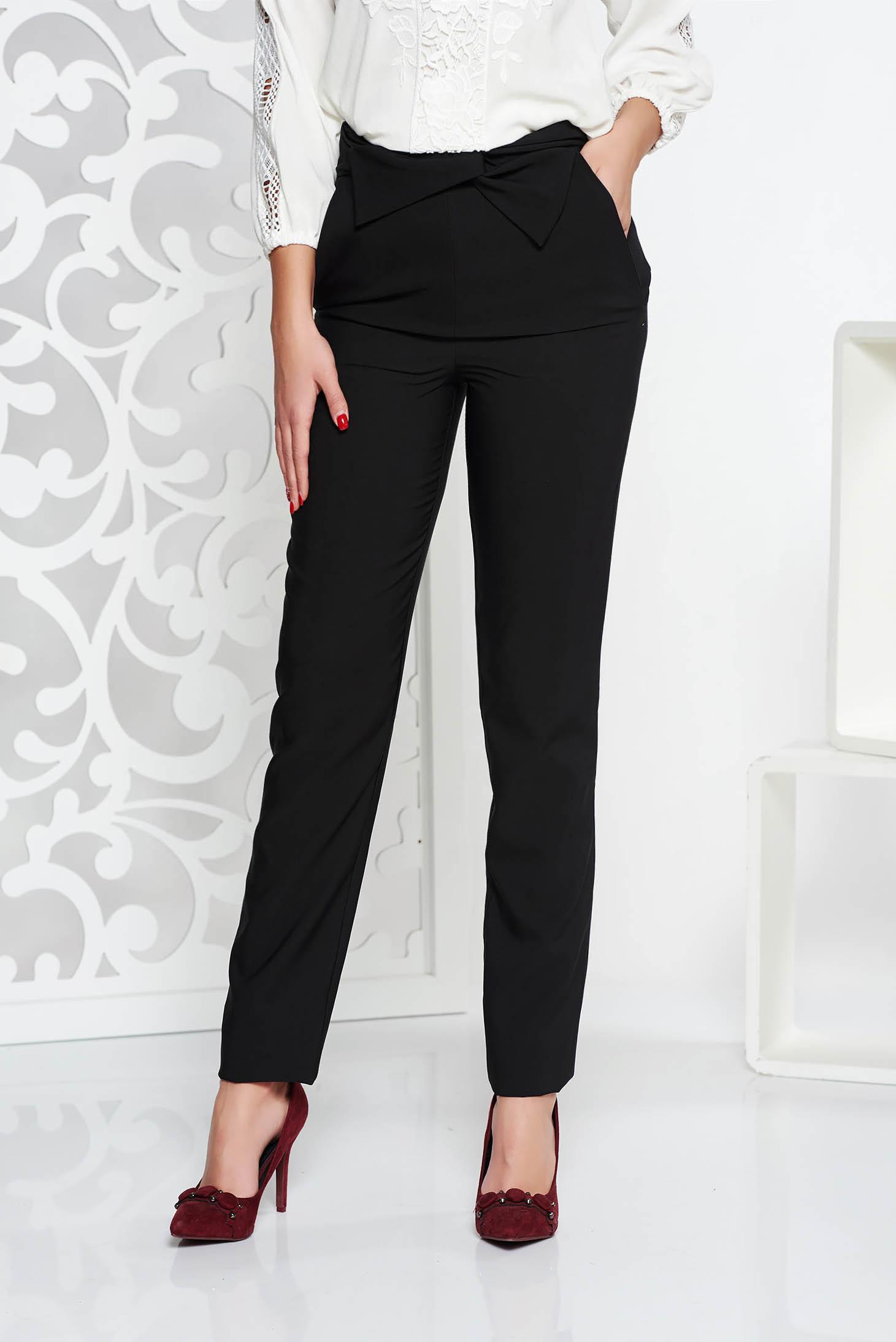 Fekete LaDonna irodai magas derekú nadrág enyhén elasztikus szövet zsebekkel