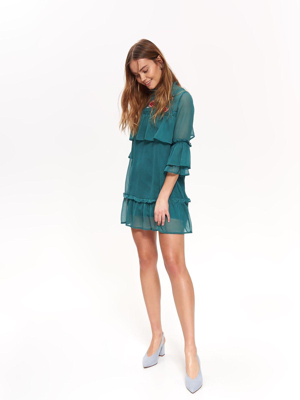 Rochie Top Secret verde eleganta cu un croi drept din material transparent cu insertii de broderie