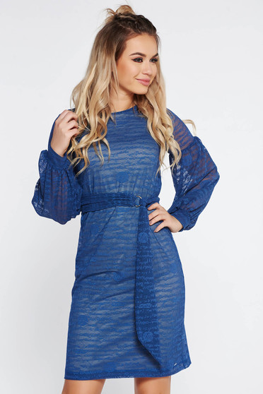StarShinerS blue dress daily accessorized with tied waistband with inside lining