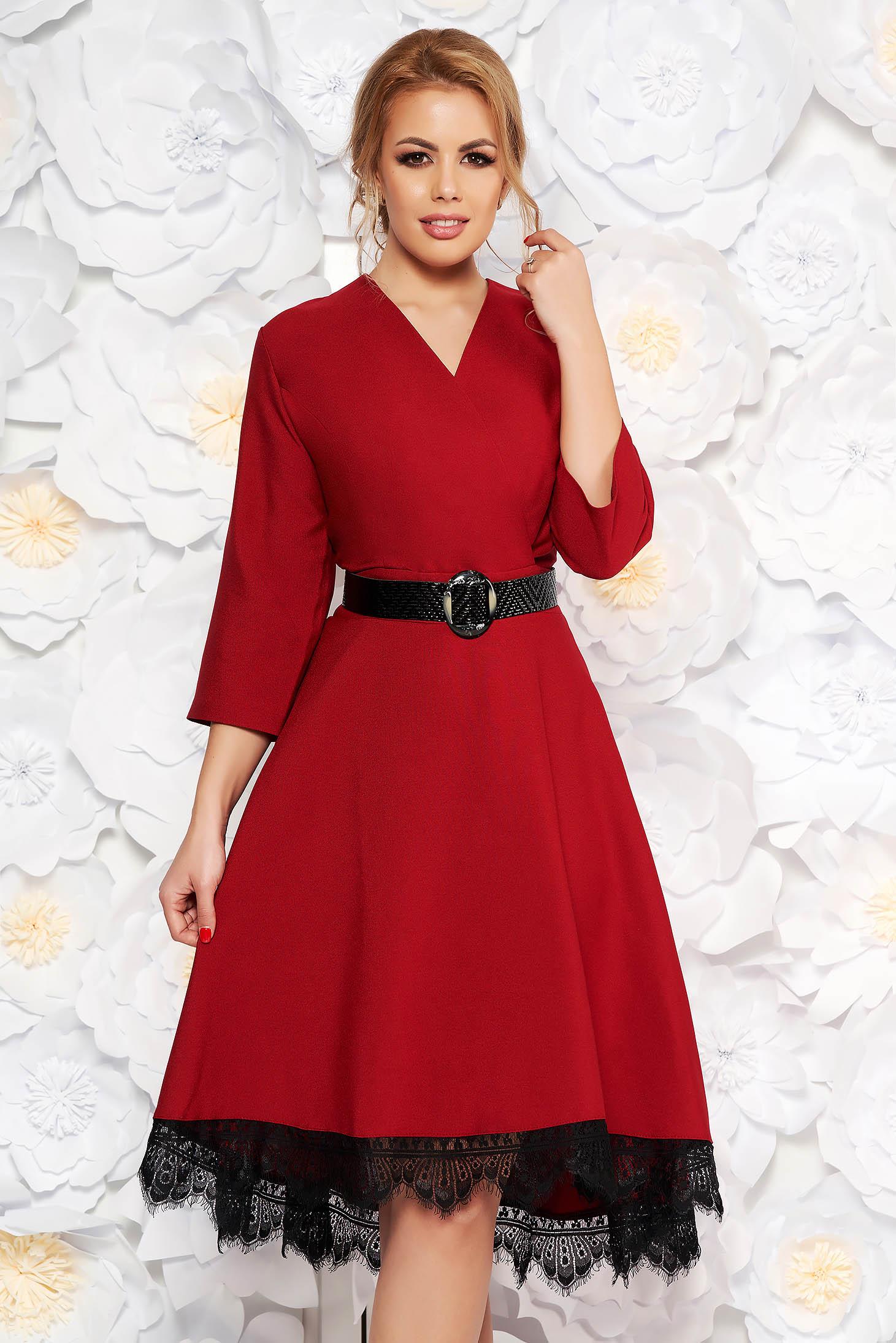 8e4655fe63 Burgundy elegáns harang ruha rugalmatlan szövet csipke díszítéssel öv  típusú kiegészítővel