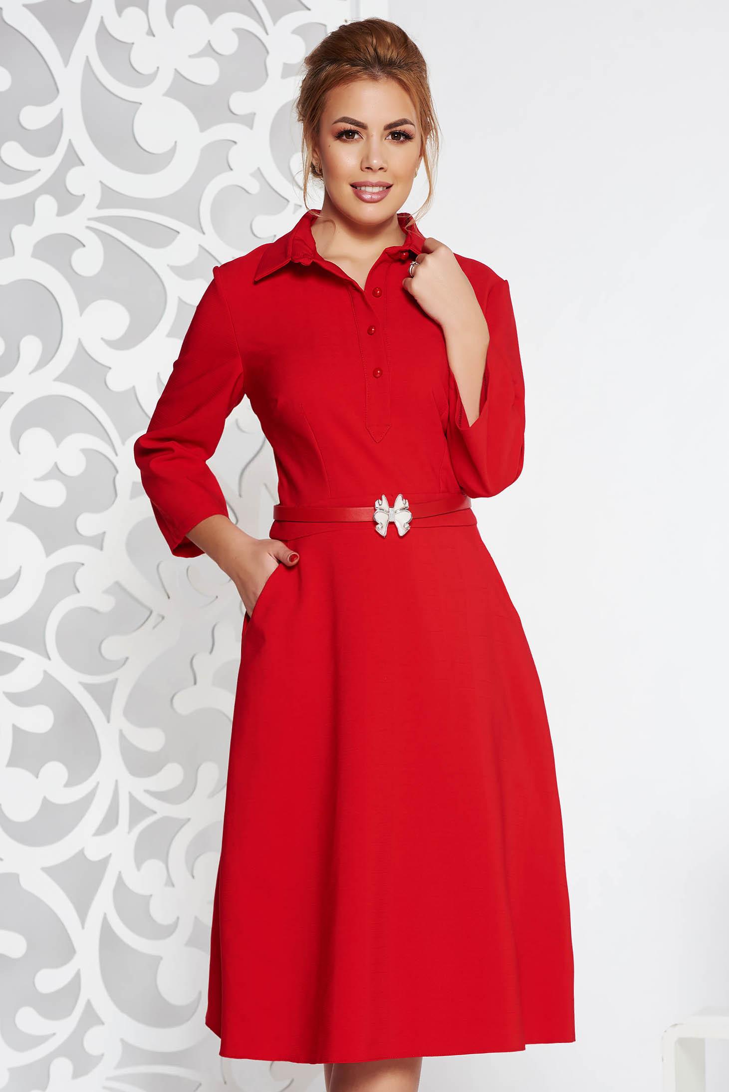 a43db0e88a Piros elegáns hétköznapi harang ruha enyhén rugalmas anyag öv típusú  kiegészítővel