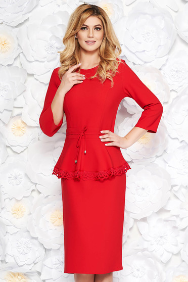 Red elegant midi dress slightly elastic fabric is fastened around the waist with a ribbon with lace details