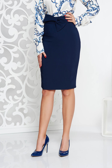 LaDonna darkblue elegant high waisted pencil skirt slightly elastic fabric